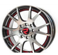 Диски Replica (R1838) W6 R14 PCD4x100/114.3 ET35 DIA73.1 black polished red line